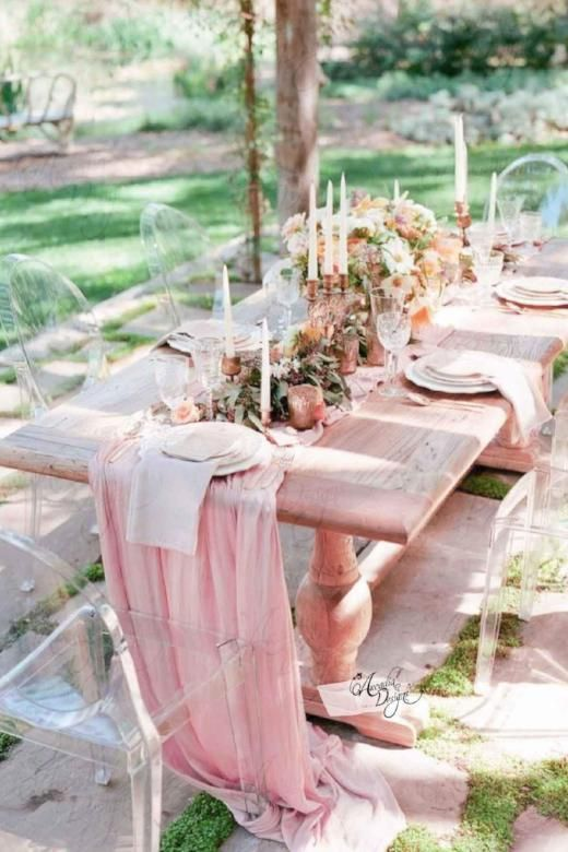 This Flowy Chiffon Light Pink Table Runner Drapes Gracefully Across The Table And Flows Onto The Fl Table Runners Wedding Wedding Table Centerpieces Pink Table