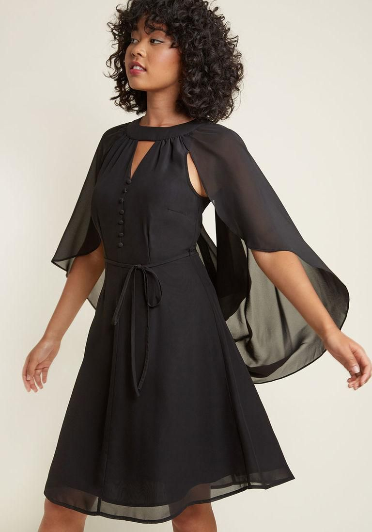 Modcloth modcloth icing on the cape aline dress in black in x