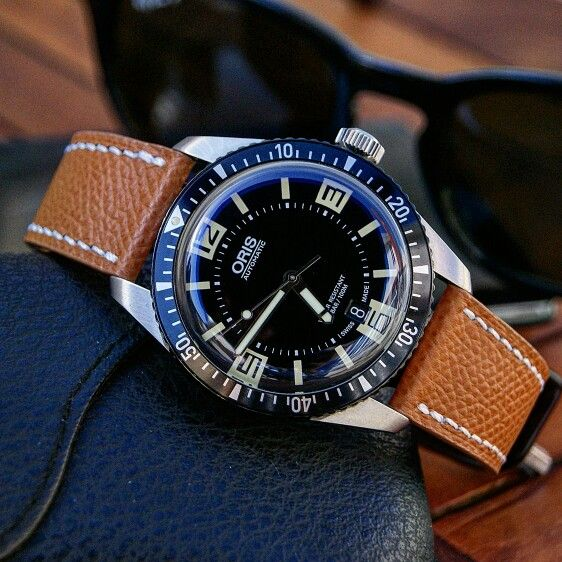 oris 65 diver on a tan hermes style strap hermes style watch