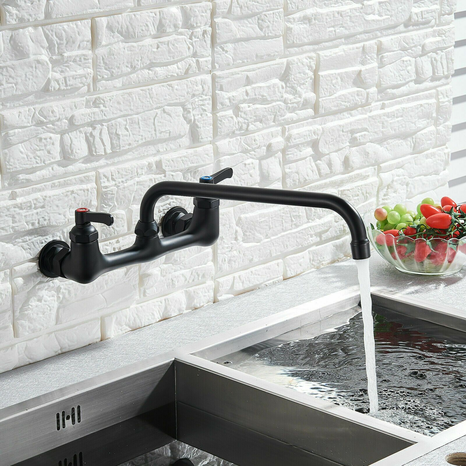 Wall Mount Kitchen Faucet 8 Center Commercial Faucet With 12 Inch Swivel Spout Wall Mount Kitchen Faucet Kitchen Faucet Commercial Faucets