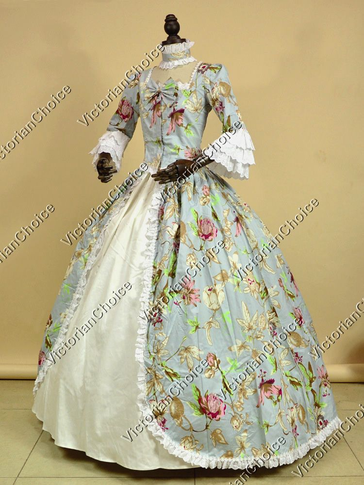Renaissance Colonial Period Prom Dress Floral Print Gown Reenactment Clothing  Costume 9f8068cb21b9