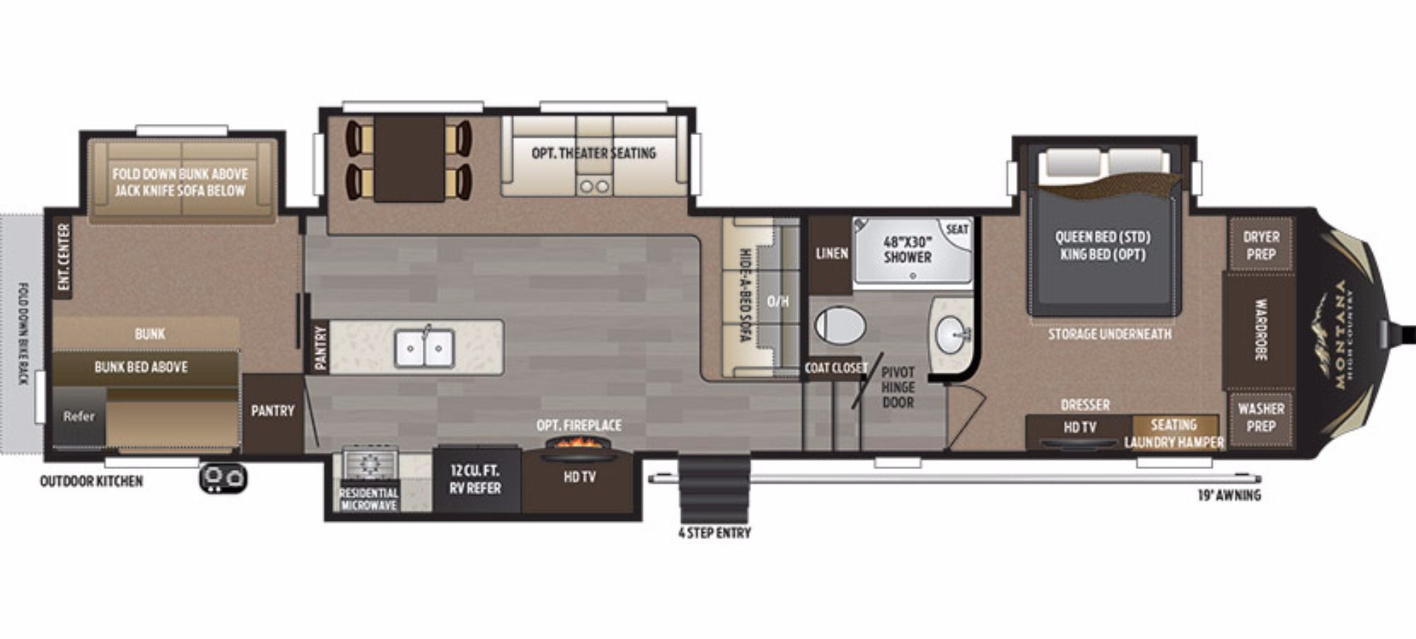 2017 KEYSTONE MONTANA HIGH COUNTRY 340BH Rv floor plans