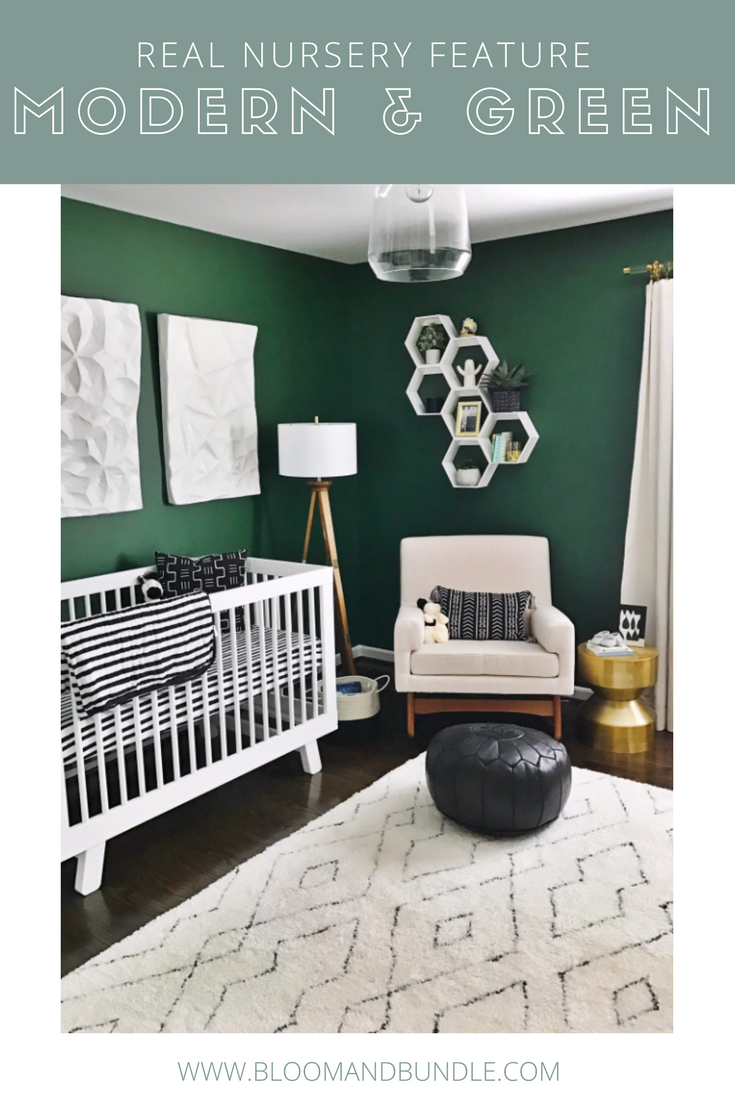 A Modern Gender Neutral Nursery With Green Black White Gold Accents Check Out More Of This And The Products Featured