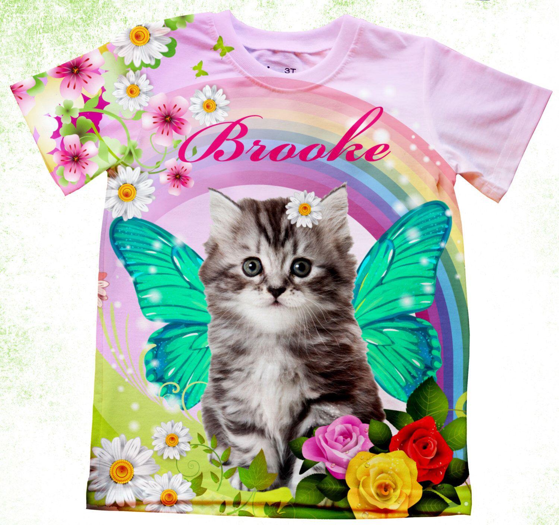 Personalized Kitten T Shirt Cat Birthday Shirt Birthday Kitty Shirt Toddler Cat Bodysuit Customized Fantsy Tee Cat Birthday Rainbow Kittens Kitten Birthday