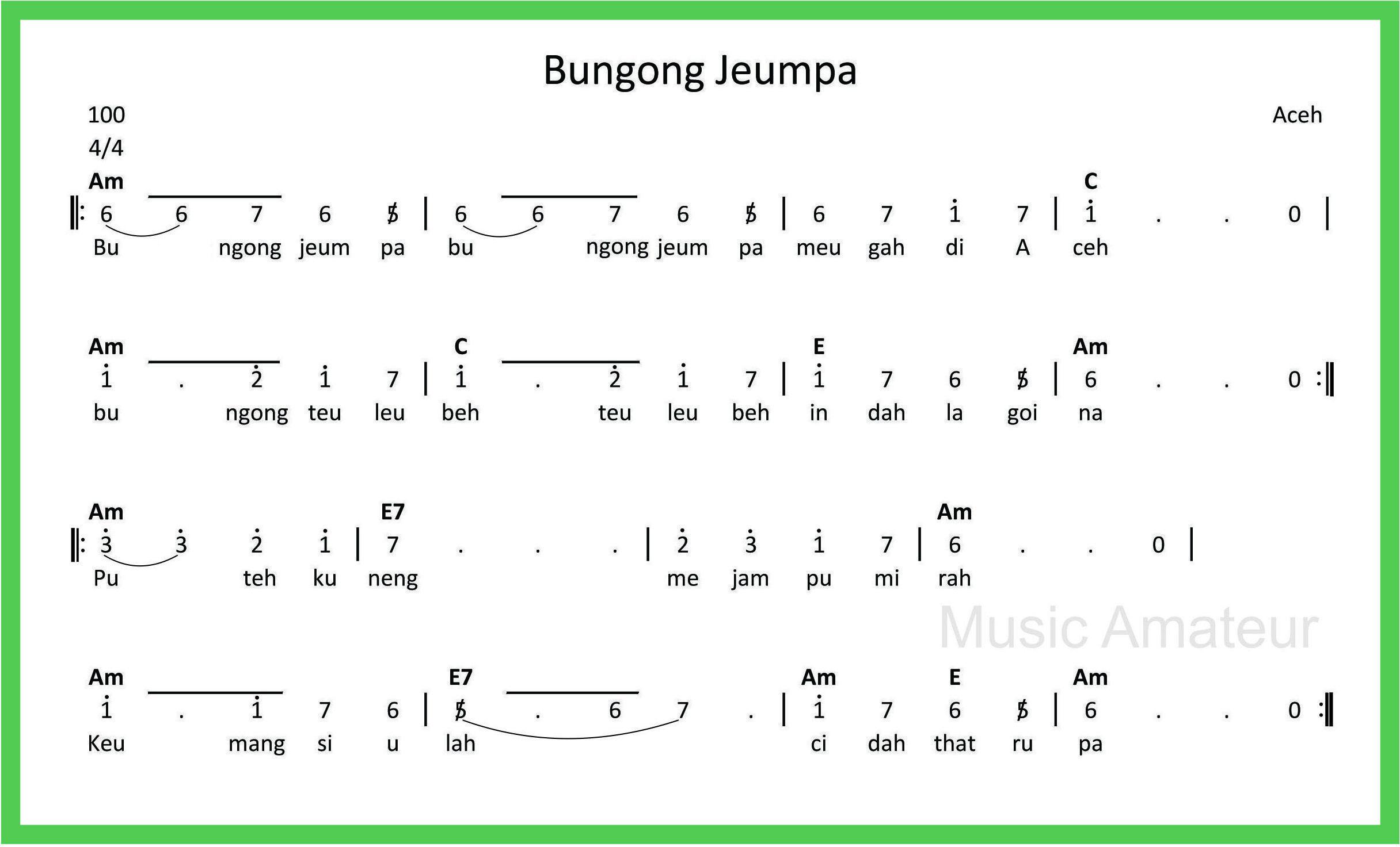 Not Angka Bungong Jeumpa Pianika Teks Lucu Buku Pelajaran