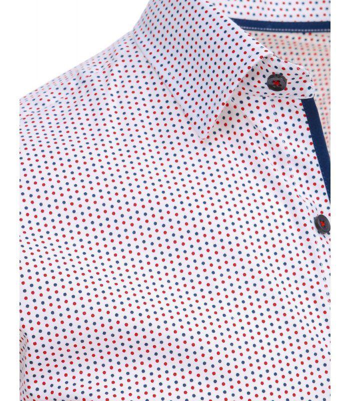 5a7491434a45 Biela pánska košela so vzorom a dlhými rukávmi
