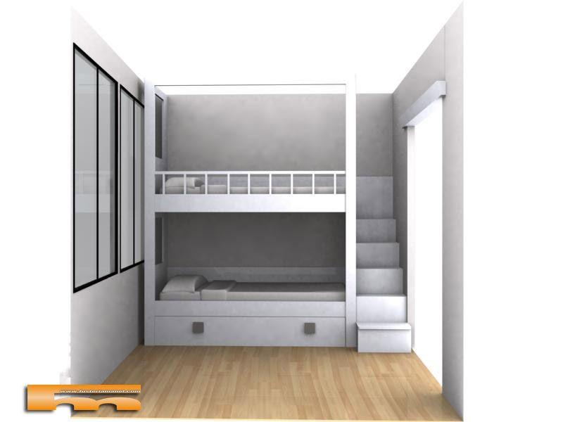 Litera a medida escalera lateral habitaci n infantil barcelona manel cuarto de vale - Camas infantiles barcelona ...