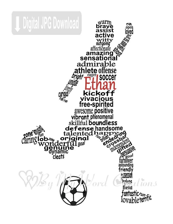 Gepersonaliseerde Voetballer Word Art Voetbal Digitale Muur Etsy Voetbal Voetballers Wordart