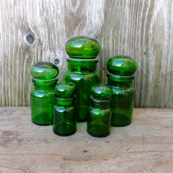 Vintage Green Glass Jars Glass Canisters Storage Jars Apothecary Bottles  Set Of Five