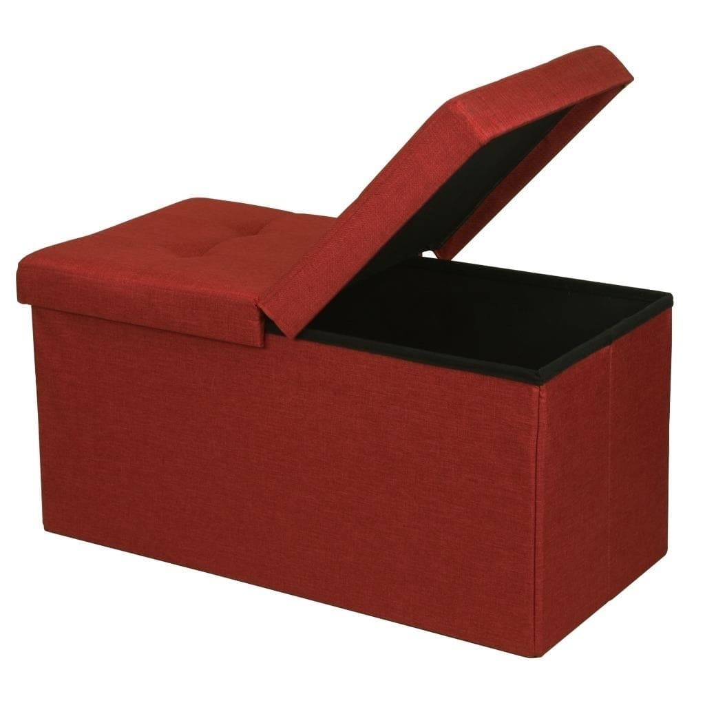 Storage Ottoman Bench 30 Inch Smart Lift Top Ruby Red Crown