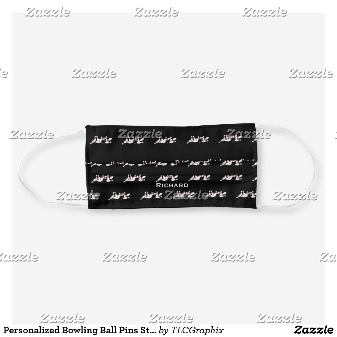 Personalized Bowling Ball Pins Strike Pattern Cloth Face