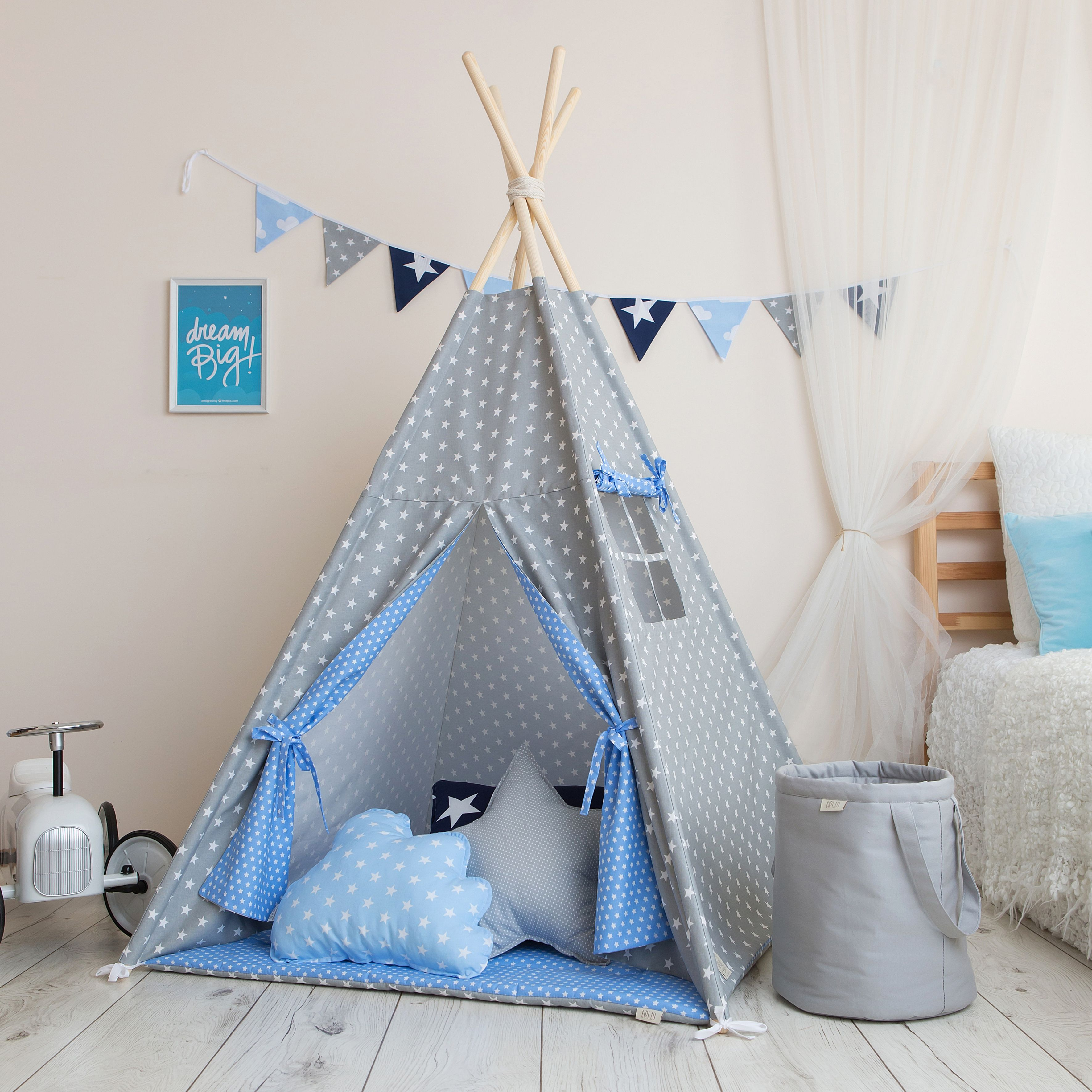 Grey And Blue Stars High Quality Teepee Teepee Fabric Teepee Child Protection