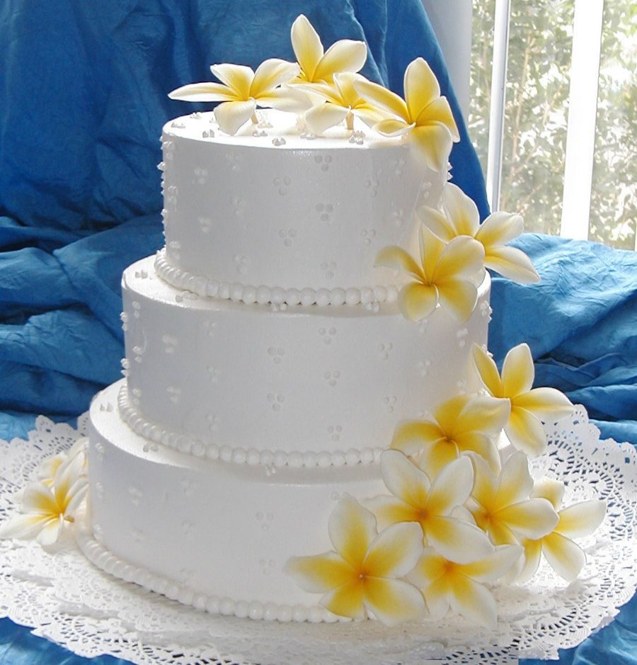 Wedding Cake Inspiration Frangipani Yellow With White Icing Various Cakes Of Diffe Shapes And Tiers The Common Theme