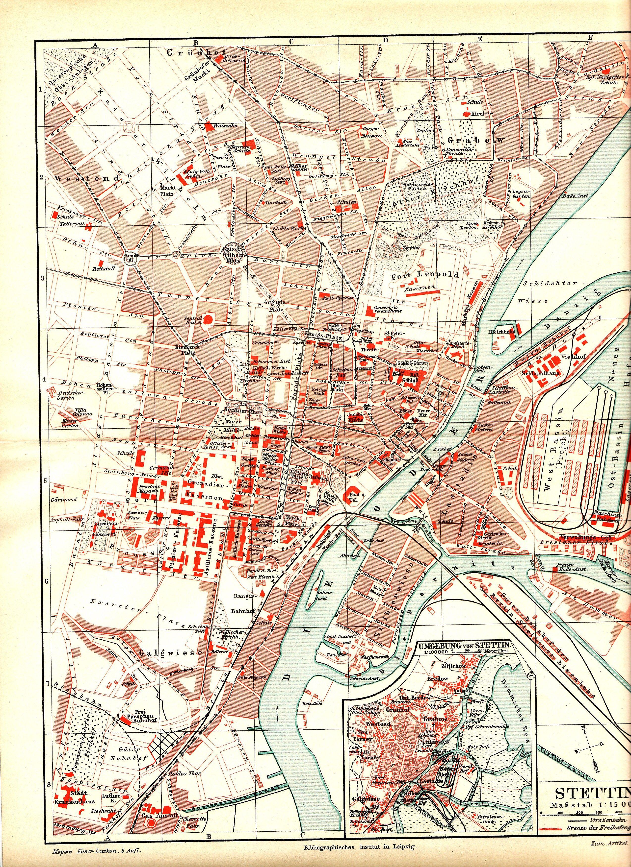 Stadtplan Stettin 1897 Stettin Alte Landkarten Landkarte
