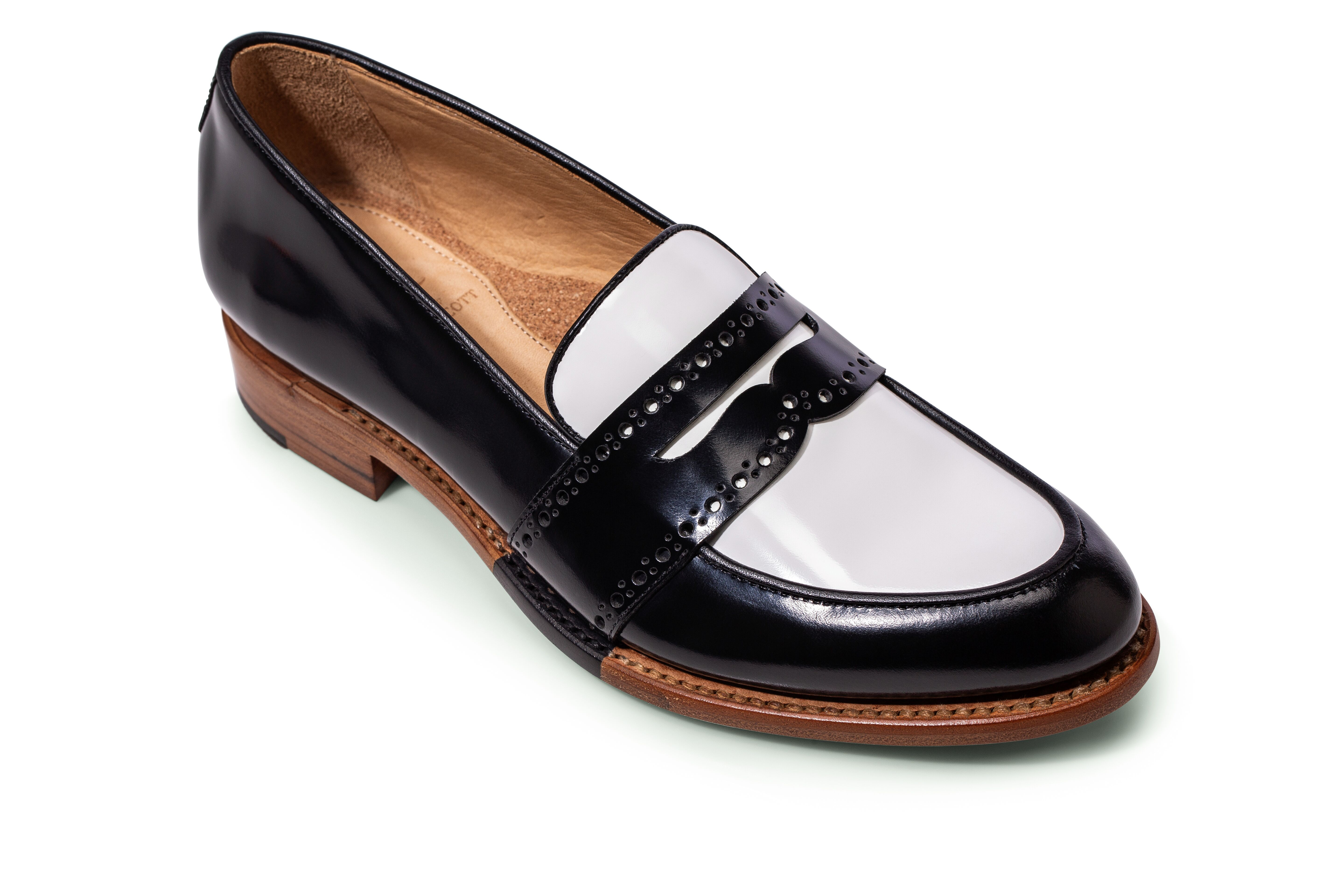 Women S Black And White Italian Leather Loafer Leather Loafers Women Womens Penny Loafers Loafers [ 3840 x 5760 Pixel ]
