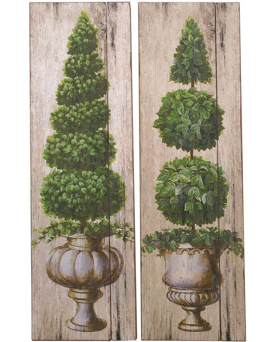 Bring old world style to your home décor with the handsome topiary wall art set showcasing a pair of classic topiaries on weathered wood panels this r
