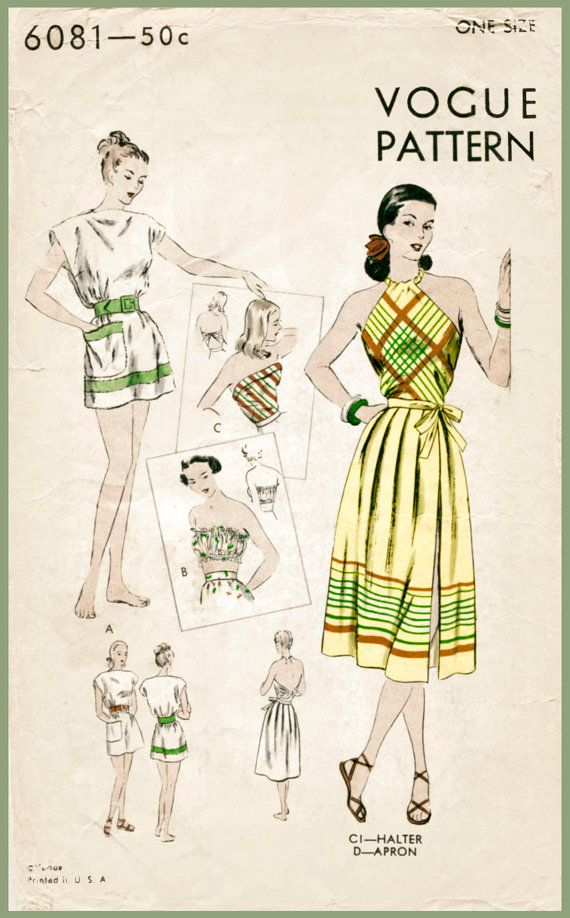 1940s 40s vintage swimsuit sewing pattern one piece halter playsuit ...