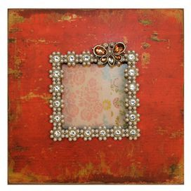 "Wood picture frame with a distressed orange finish.Product: Picture frameConstruction Material: Wood and glassColor: OrangeFeatures: Holds one 4"" x 4"" photo Dimensions: 8"" H x 8"" W"