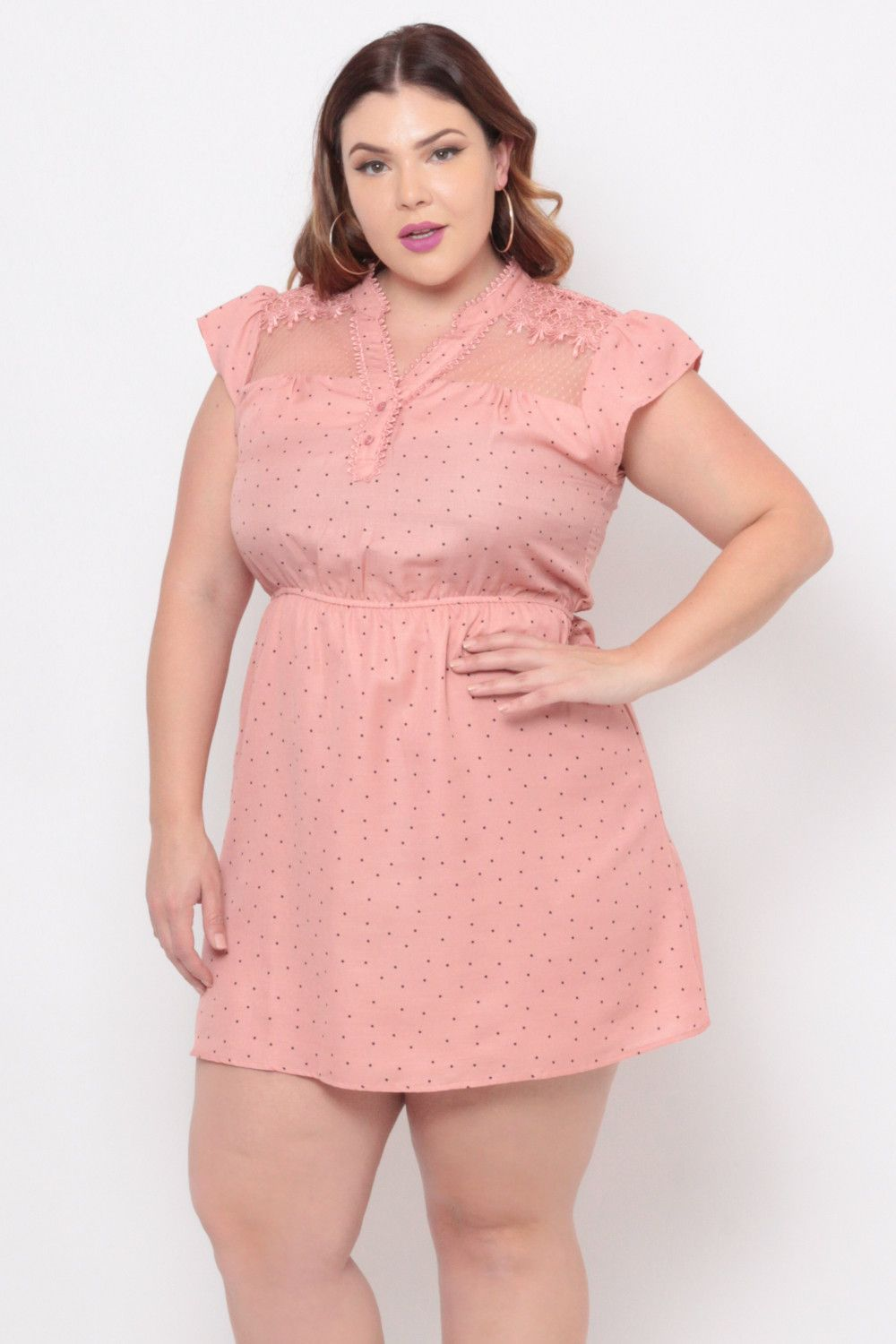 Plus Size Polkadot Crochet Lace Dress - Blush Pink