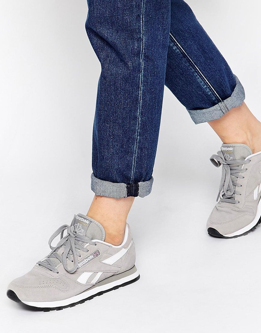 b55652a5ab4 Reebok CL Suede Grey Trainers | Style | Schoenen, Kleding, Accessoires