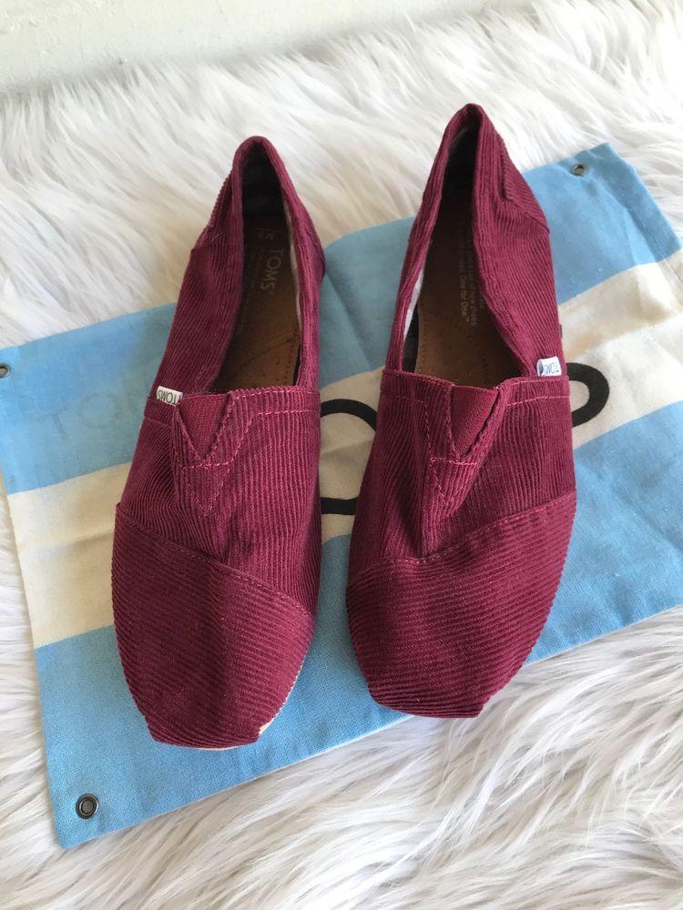 232fb3d5b62 Toms Women s Slip On Flats Shoes Size 9M Maroon Burgundy Corduroy Shoe Bag