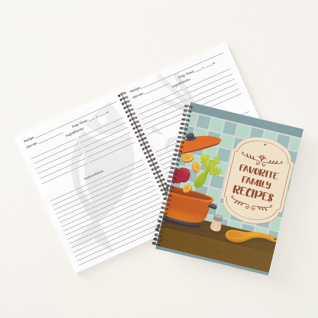 Favorite Family Recipes Notebook Zazzle Com Family Recipe Book Family Meals Recipe Book