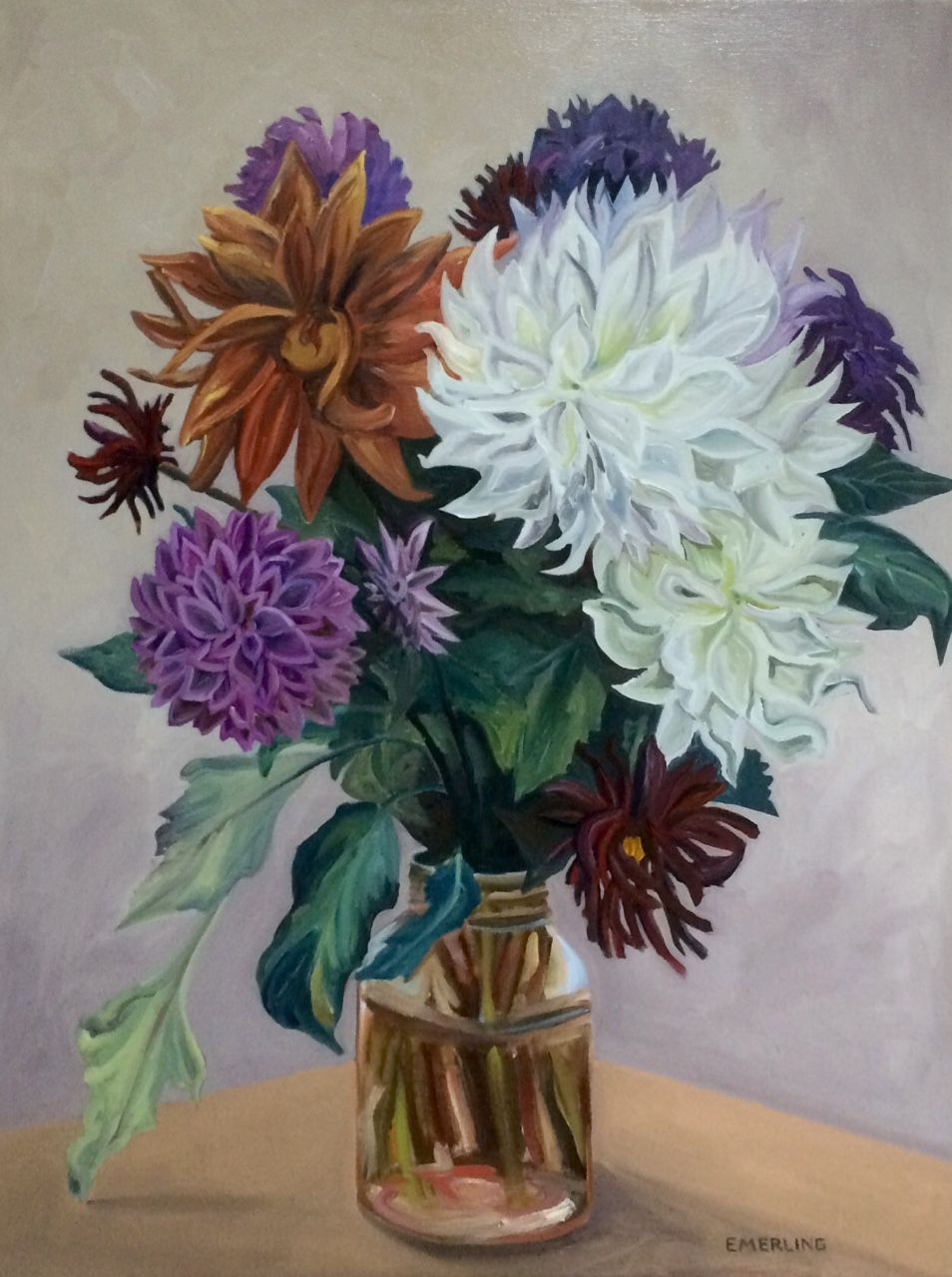 My Secret Life as a Chef — Dahlias, in stages,  oil on linen. 30x40 inches.