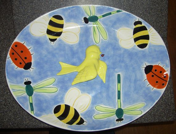 Garden Birdbath Ceramic Tabletop Yellow Bird by rosepetalcottage, $40.00