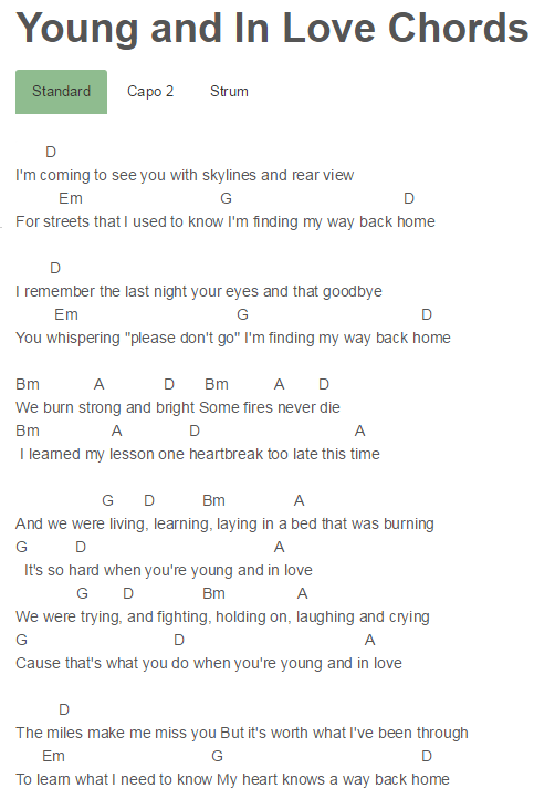 Young And In Love Chords Hunter Hayes Hunter Hayes Pinterest