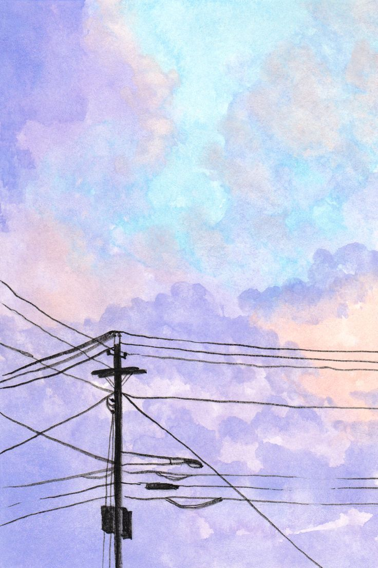 Power Lines Watercolor Art
