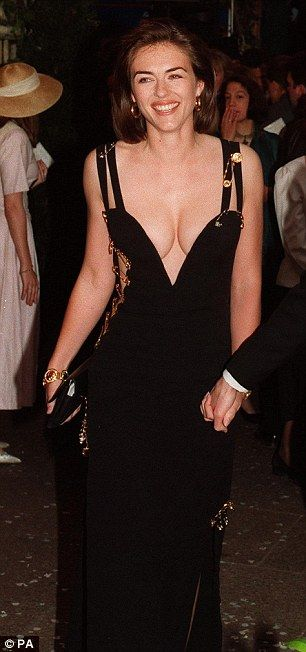 Liz Hurley In A Revealing Versace Safety Pin Dress Comes Second Hurley Dress Elizabeth Hurley Versace Dress
