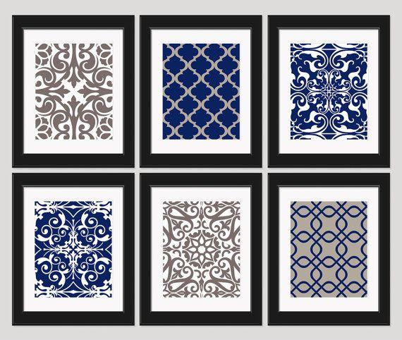 Navy blue art navy blue tan wall art art prints by inkandnectar 55 00