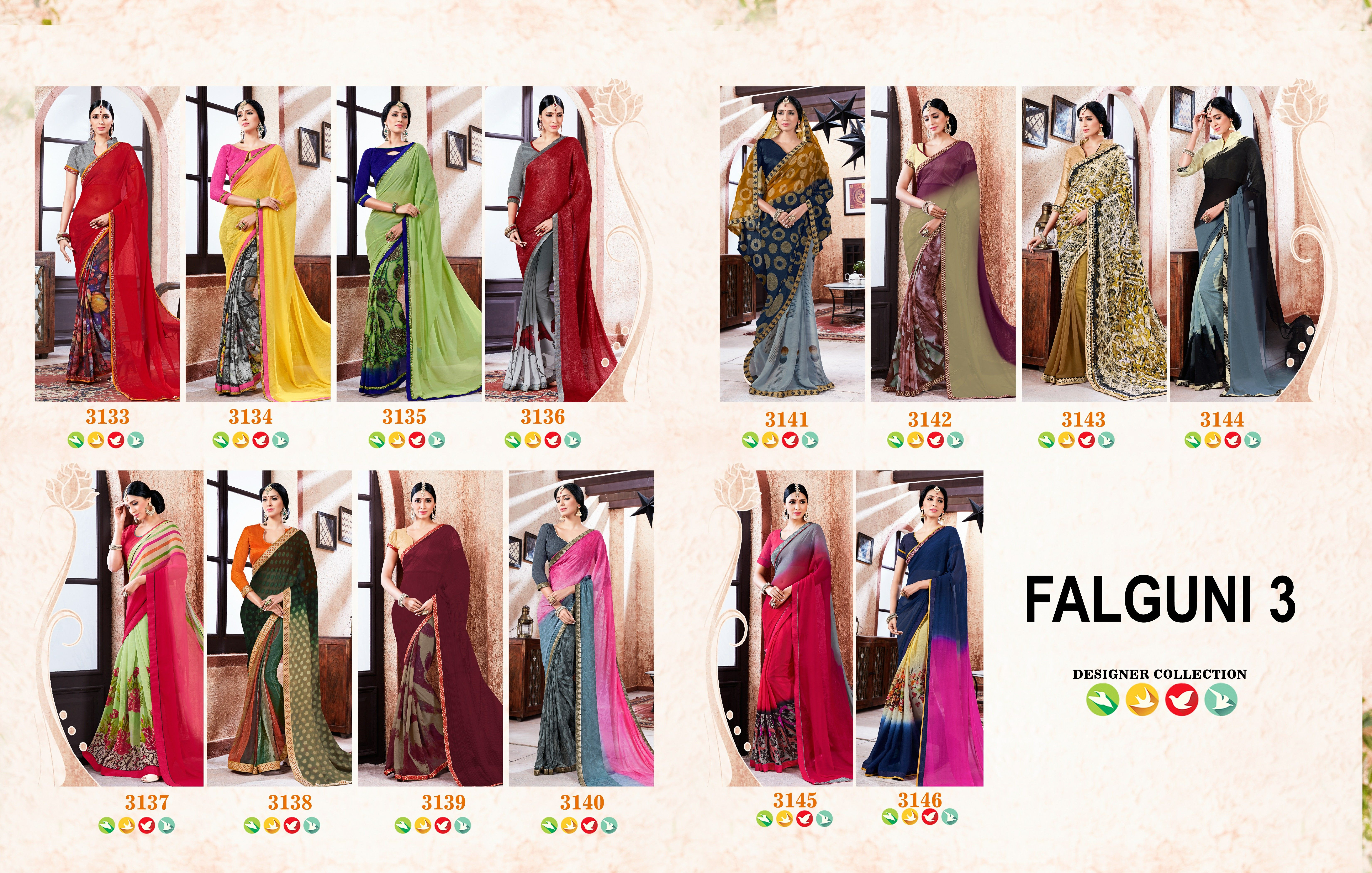 Catalog: FALGUNI 3 Brand: Liberty Lifestyle Product: Digital Printed Georgette Saree Saree Fabric: Georgette Blouse Fabric: Banglori  Catalog Design No: 3133 to 3146 Catalog Piece: 14  Wholesale Rate: 595/- Rs  Dispatching Time: Same Day  https://www.facebook.com/libertylifestylesurat/posts/1052115951558872  Catalog HD Image and Full Details Link: https://goo.gl/eQ3FB9  FOR Orders / Inquiry / Whats App: +91 97263 00063 Email: libertylifestyle.online@gmail.com  LIBERTY LIFESTYLE Manufacturer…
