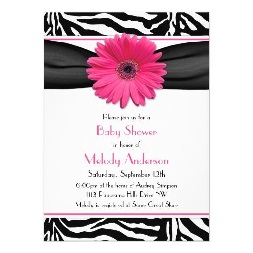 Pink Gerber Daisy Zebra Print Girl Baby Shower Personalized - how to make invitations with microsoft word