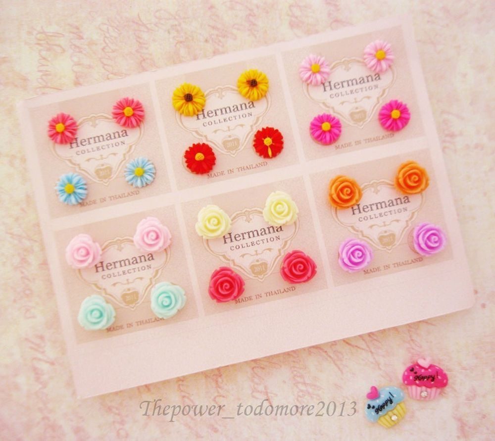 12 Pairs Cute Kids Plastic Soft Post Stud Earrings for Children ...