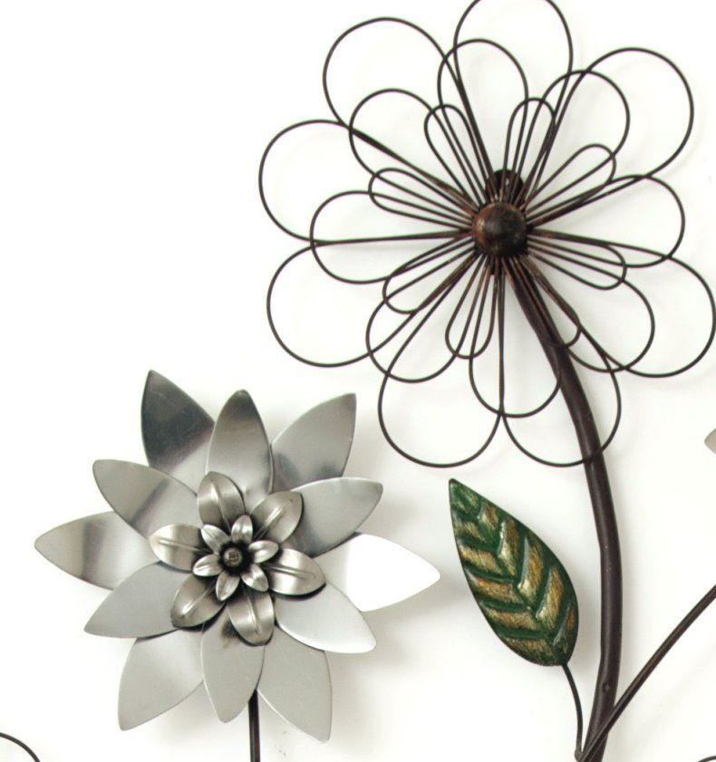 Metal Flower Wall Art metal wall art new wall decor - silver flower branch | metal wall