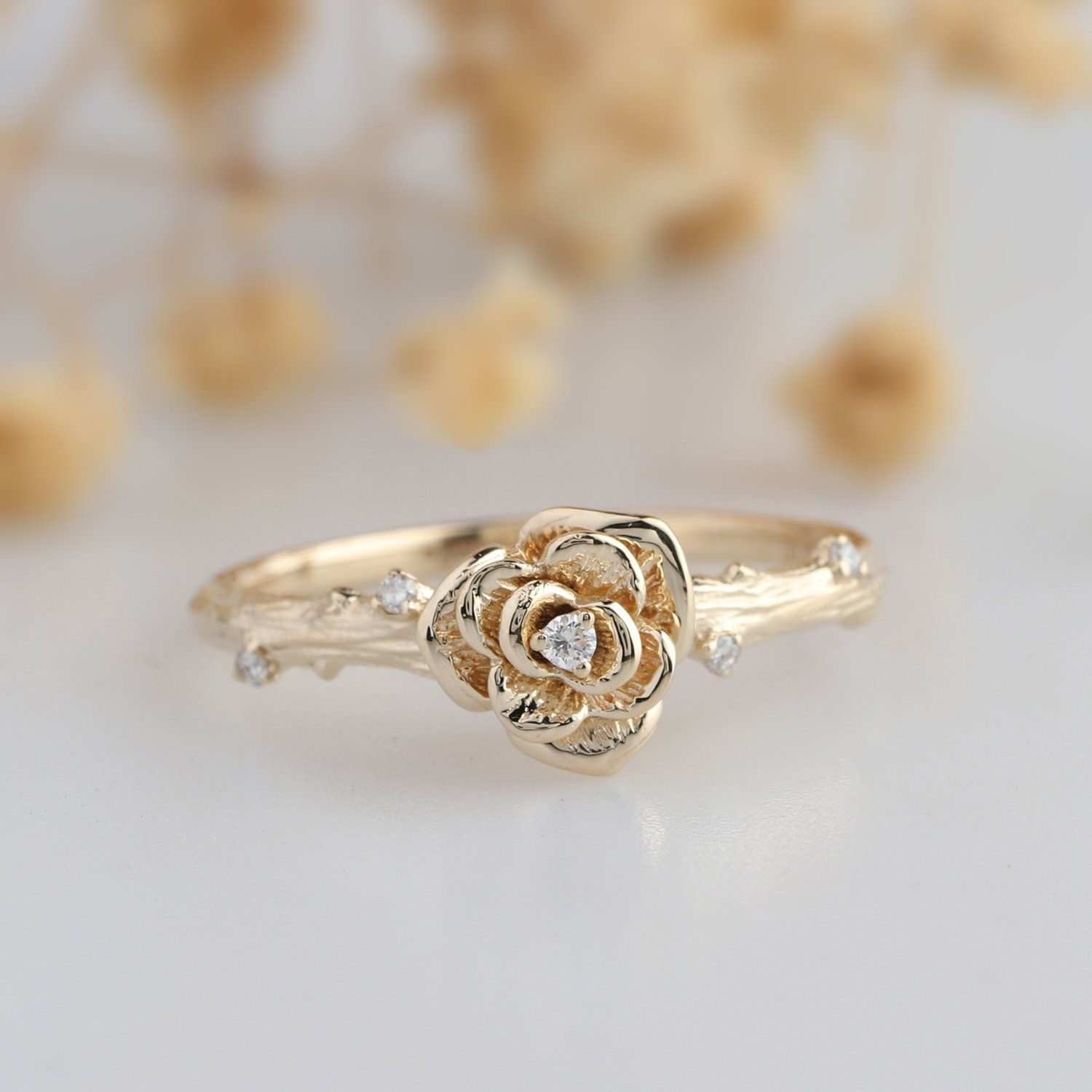 Floral Diamond Ring Diamond Rose Flower Design 0 03ctw Etsy In 2020 Traditional Engagement Rings Rose Engagement Ring Jewelry Rings Engagement