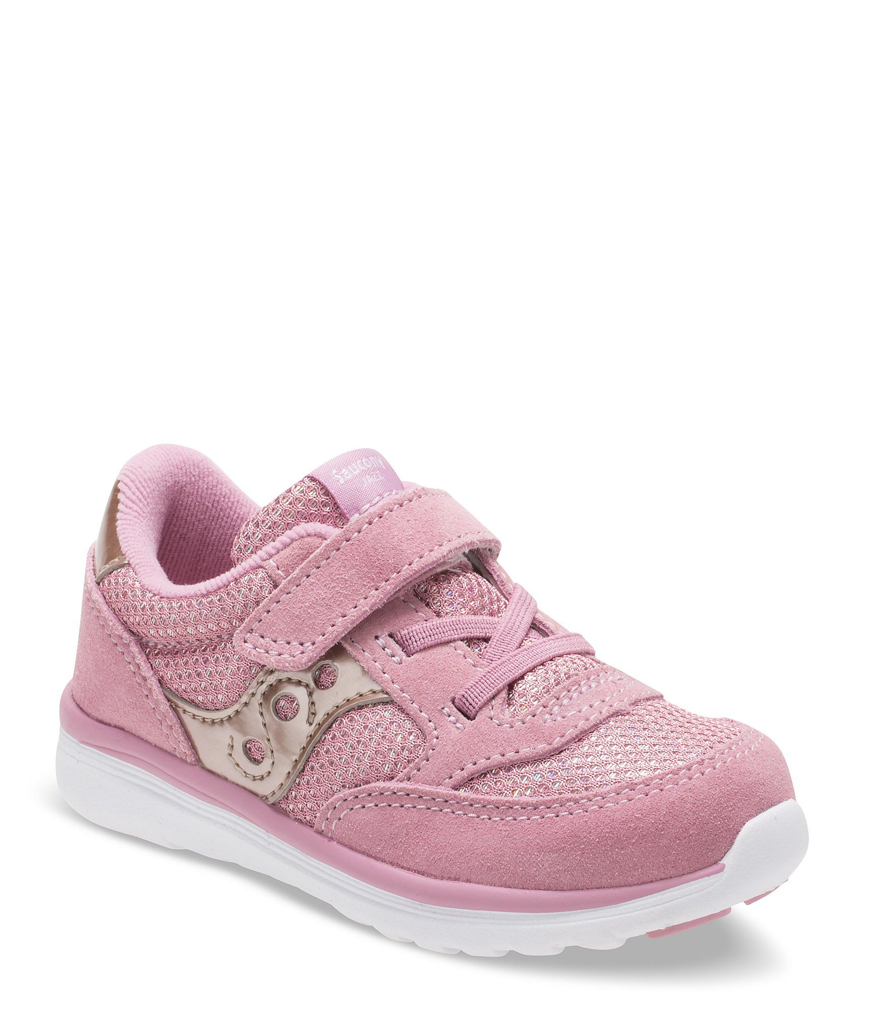 From Saucony, the Girls' Baby Originals Jazz Lite Sneaker features:Nylon and suede upper in a retro silhouetteStitched elements for durabilityIconic side logo for a timeless lookHook-and-loop with elastic lace closure for a snug fitPadded tongue and collar for all-day comfortTextile liningCushioned textile footbedLightweight EVA midsole for cushioning that won't weigh you downDurable rubber outsoleAPMA approved for the health and comfort of your little one