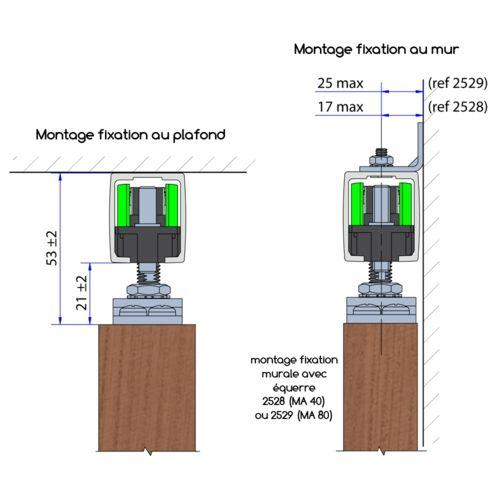 Système porte coulissante MA 80 pour 1 porte de séparation et - rail porte de placard coulissante