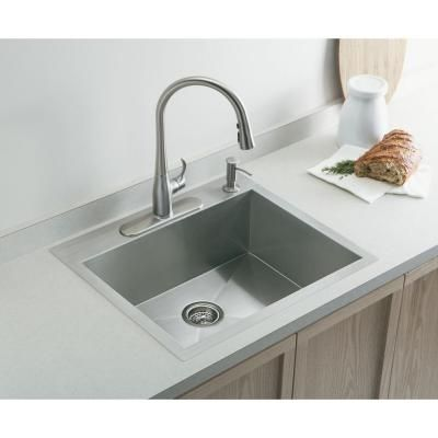 Kohler Vault Drop In Undermount Stainless Steel 25 In 1 Hole