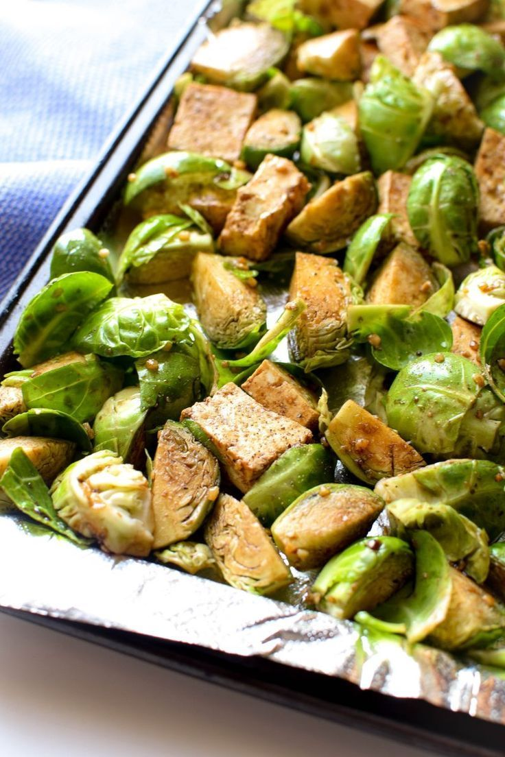 Sheet Pan Garlic Tofu & Brussels Sprout Dinner images