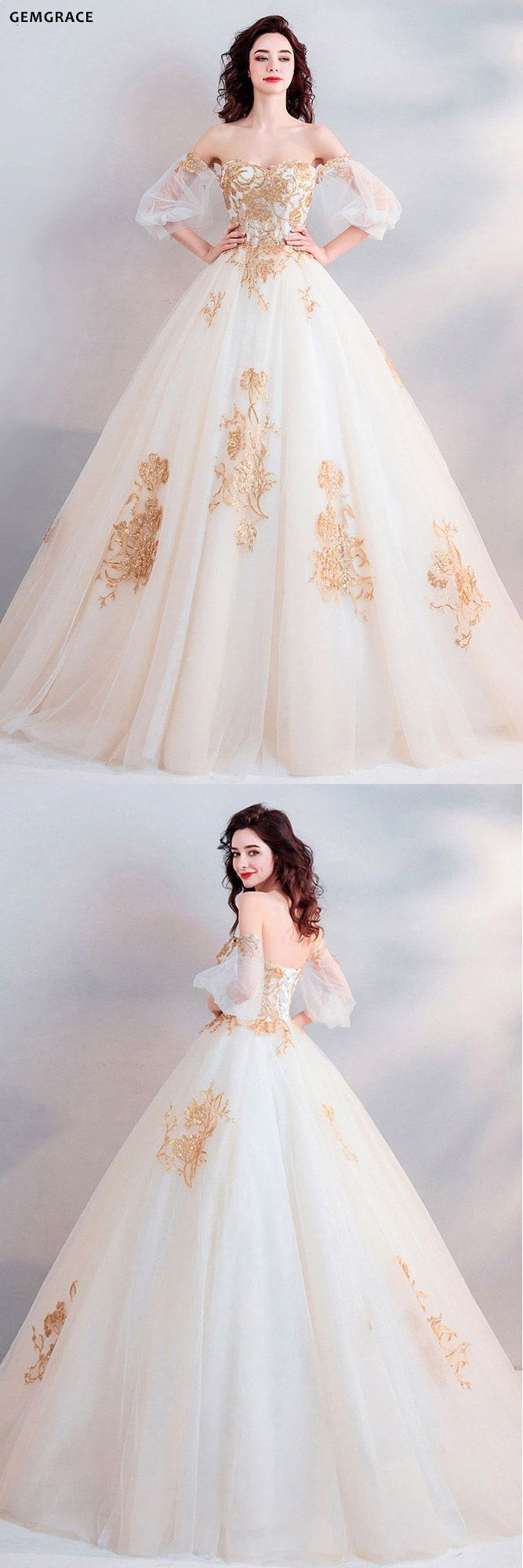 $11.11, Classic Gold With White Ball Gown Princess Wedding Dress