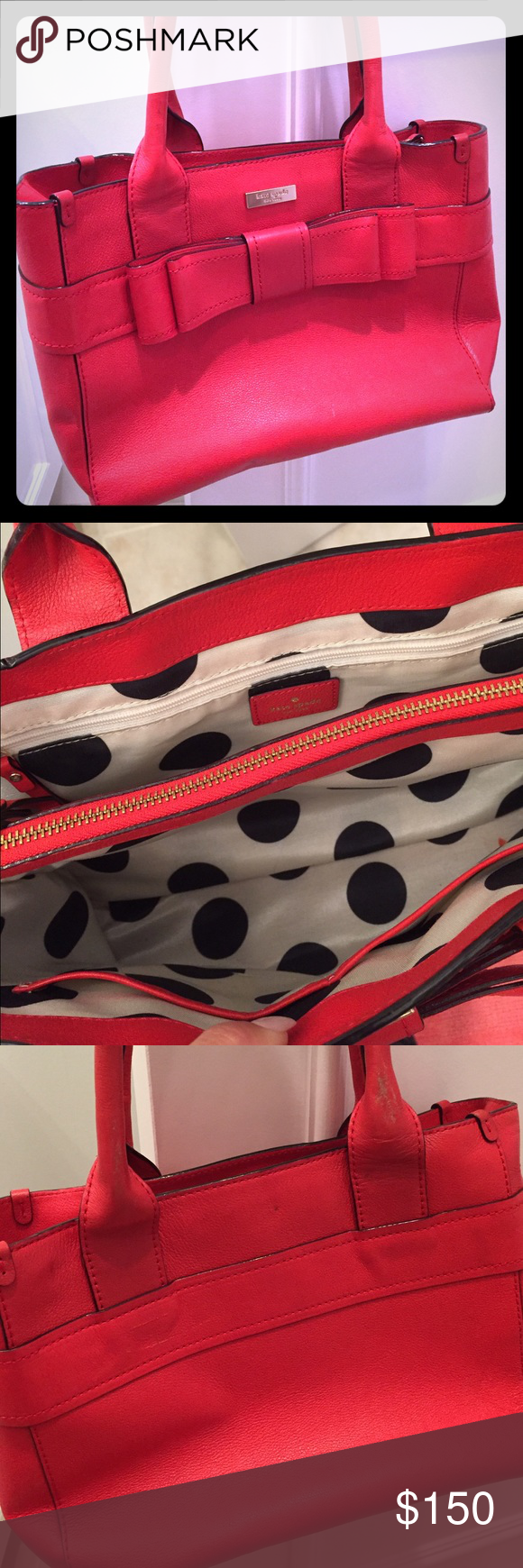Kate Spade tote Red leather Kate Spade tote with beautiful big bow detailing on the front and adorable black and white polka dot fabric silk lining with middle zipper pocket panel kate spade Bags Totes