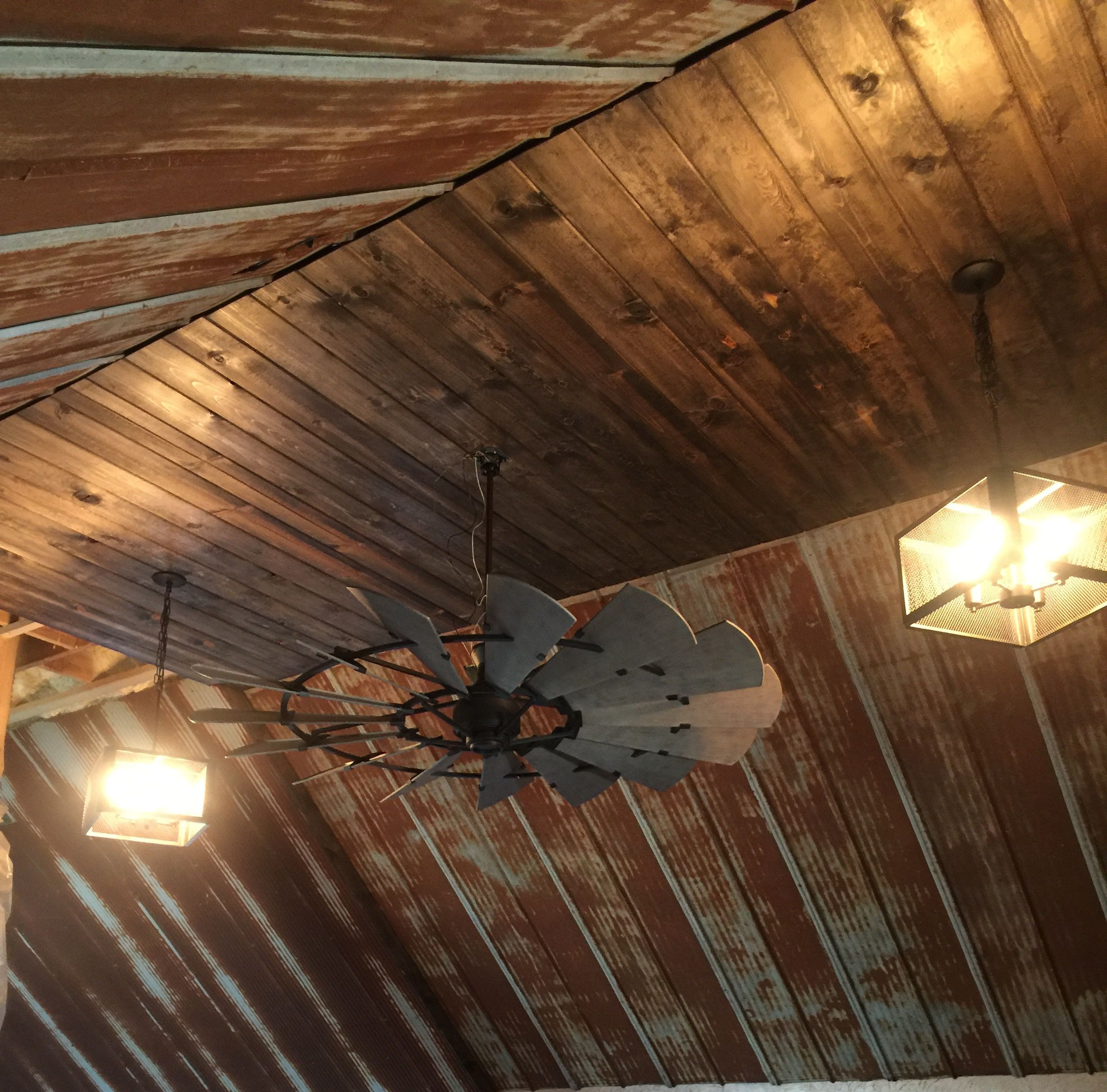Rustic barn tin ceiling with windmill ceiling fan | Our ...