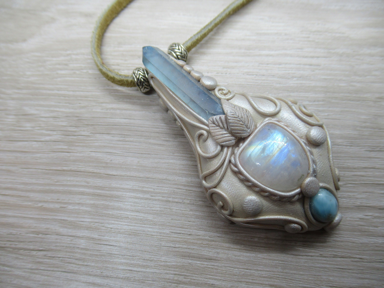 Aura Quartz Amethyst Rainbow Moonstone Polymer Clay Pendant Necklace