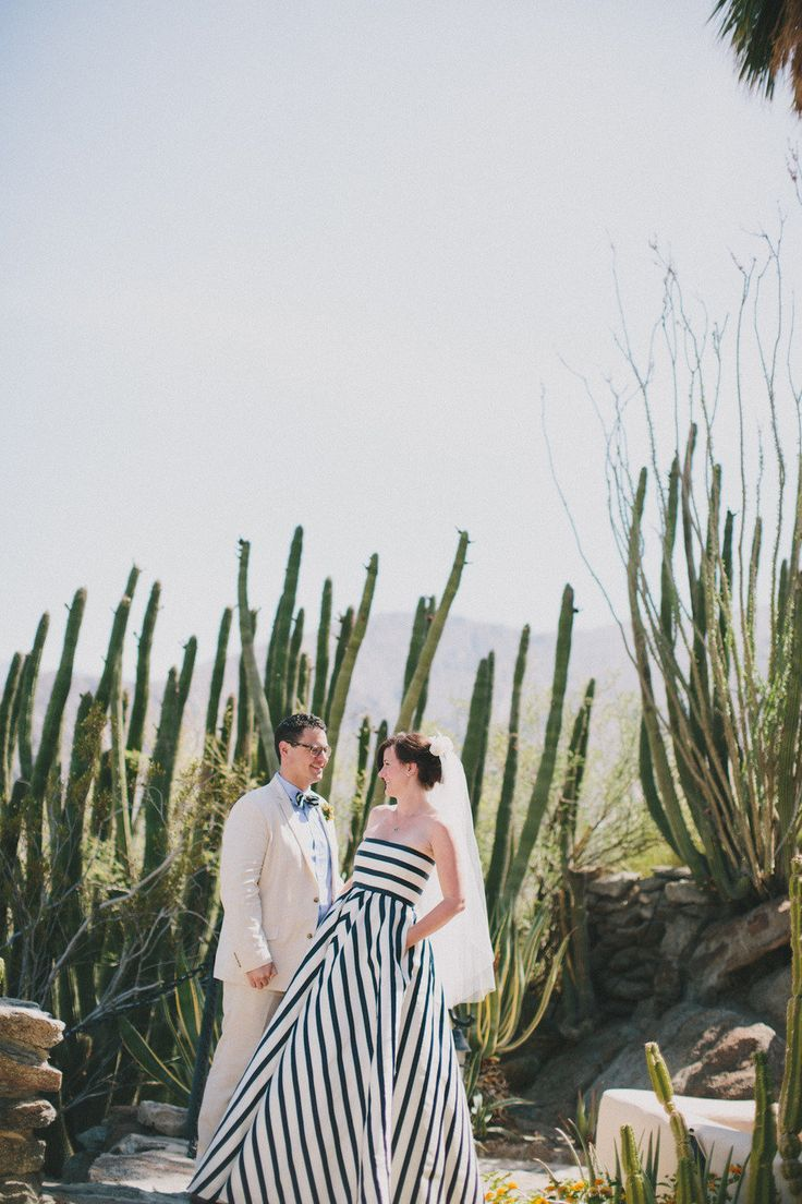 See the Bride Who Rocked a Striped Wedding Dress