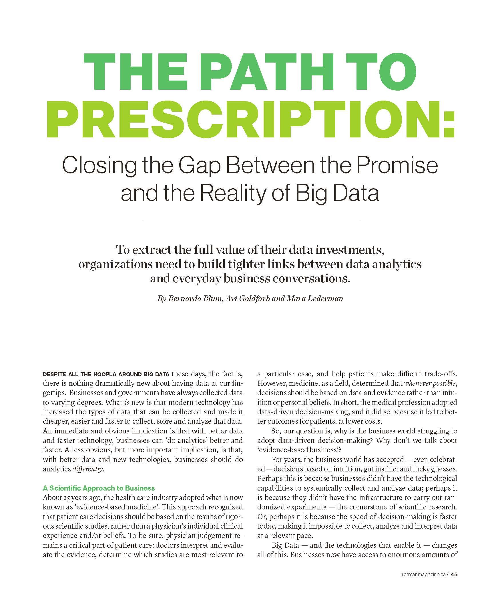 The Path To Prescription Closing The Gap Between The Promise And