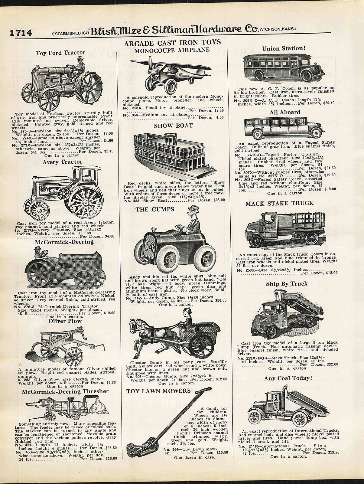 1930 Ad Arcade Cast Iron Toy Trucks Mccormick Deering