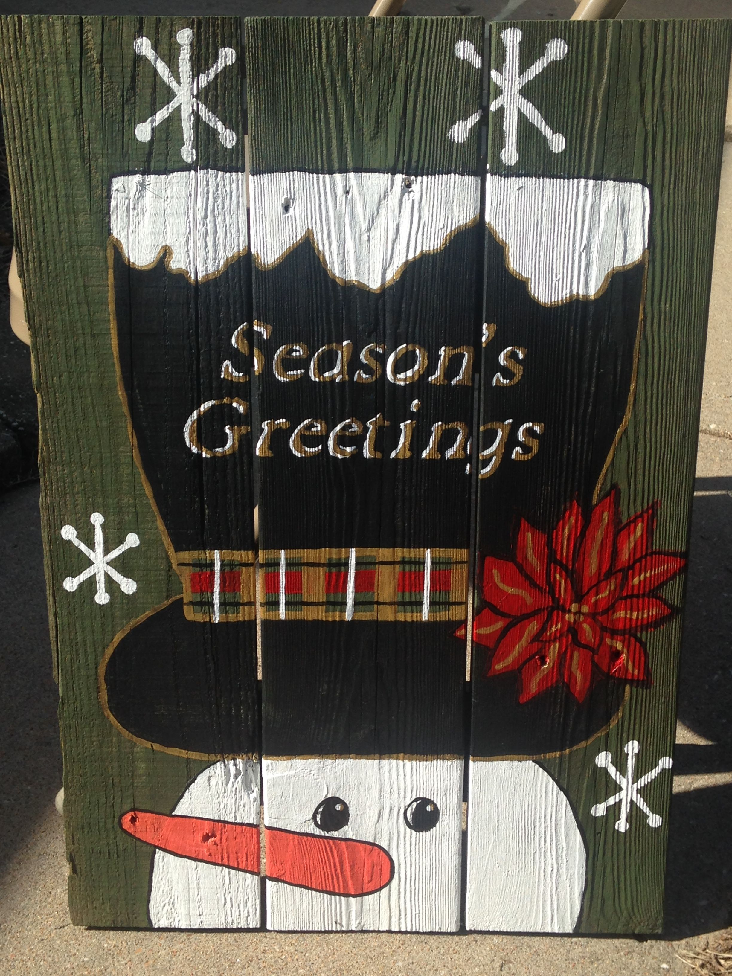 Season S Greetings Snowman Pallet Creations Greeting Sign Pallet Crafts