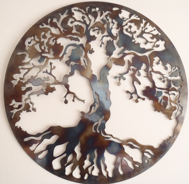 Tree of life metal wall decor metal art heat colored art the